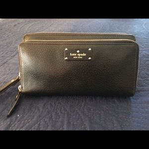 Kate Spade black leather clutch